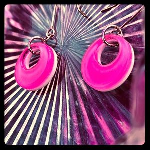 Cute Little Hot Pink and White Lucite Hoops
